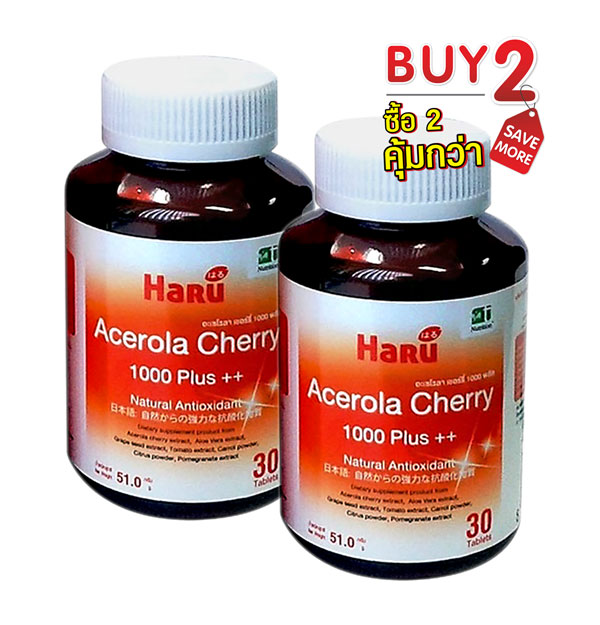Buy 2 Save More! Haru Acerola Cherry 1000 Plus++ , 30 Capsules x 2 Pcs