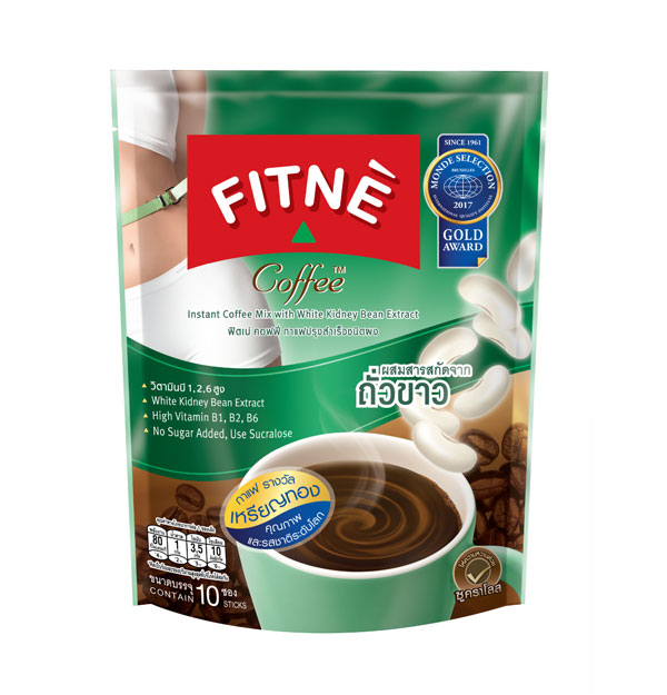 FITNE' Coffee Instant Coffee Mix with White Kidney Bean Extract 15g.x10 Sticks