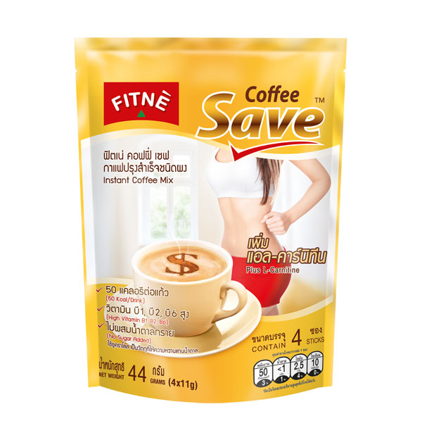 FITNE' Coffee Save Instant Coffee Mix with L-Carnitine 11g.x4 Sticks