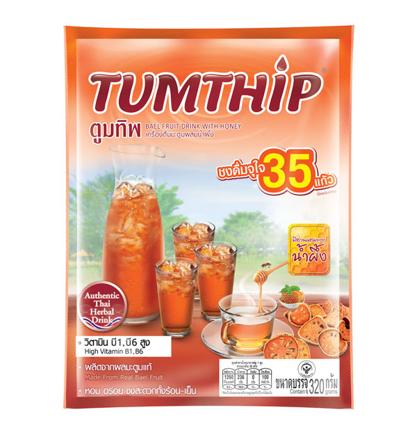 TUMTHIP Instant Bael Fruit Drink with Honey, 320 g.