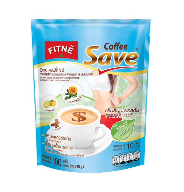 FITNE' Coffee Save Instant Coffee Mix with Safflower Extract and Garcinia Extract 10g.x10 Sticks