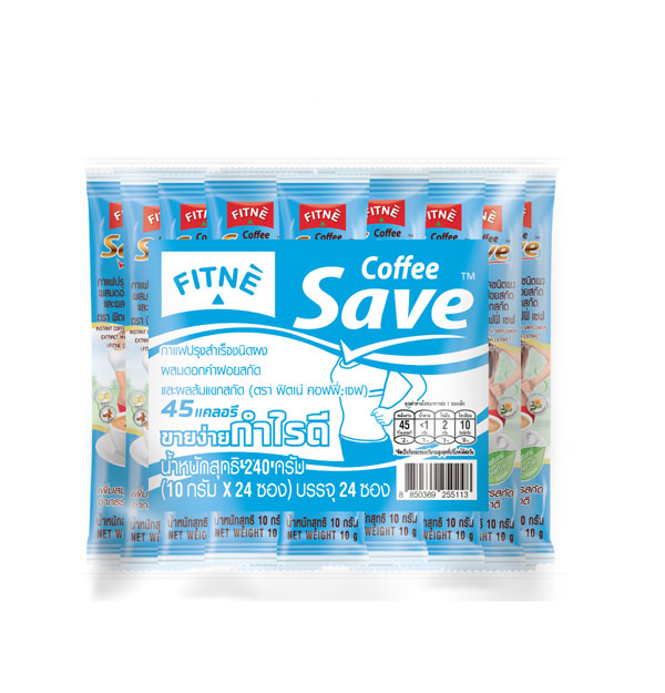 FITNE' Coffee Save Instant Coffee Mix with Safflower Extract and Garcinia Extract 10g.x24 Sticks